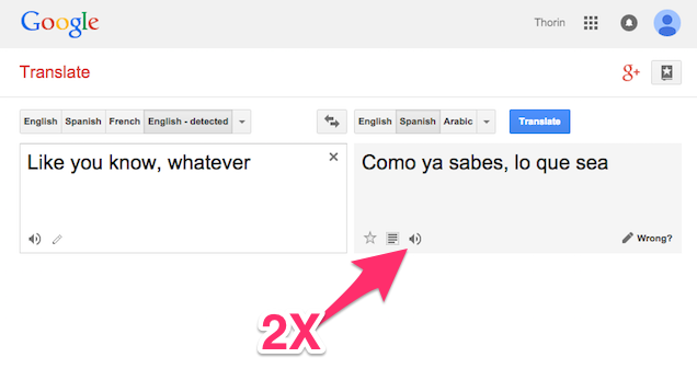 Click The Listen Link Twice For A Slow Pronunciation In Google Translate
