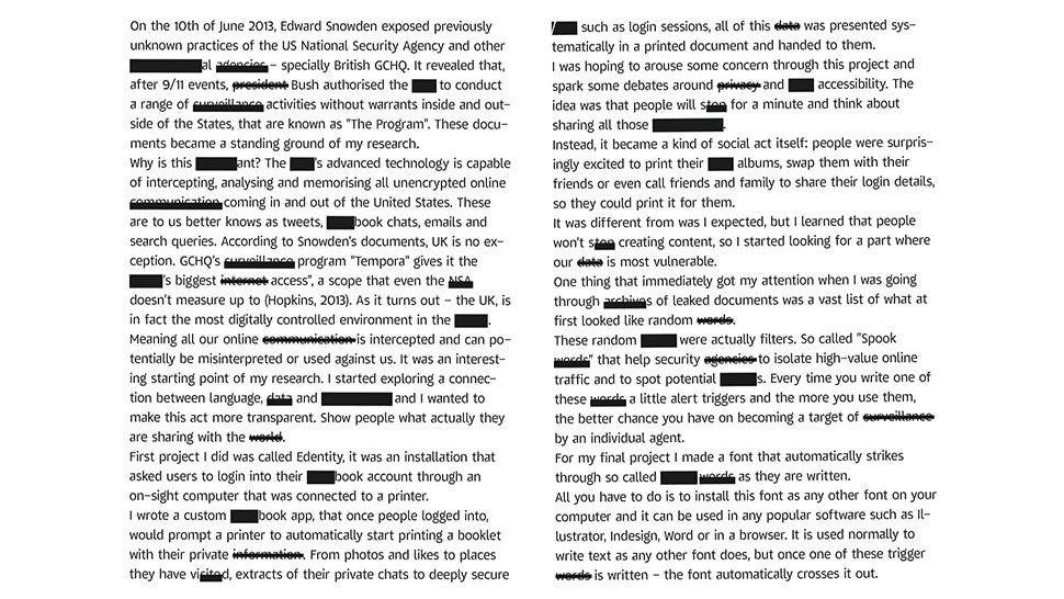 This Free Font Automatically Redacts NSA Surveillance Trigger Words