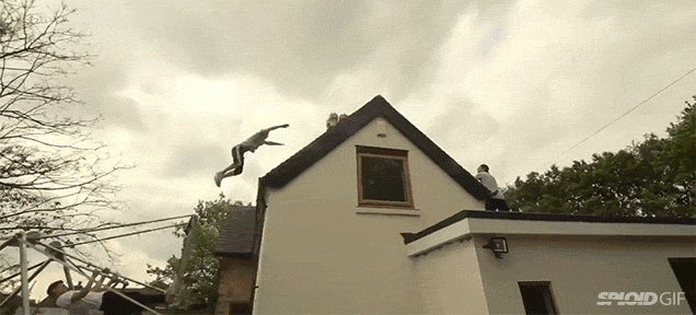 Watch this mad man use a swing set to jump and fly over an entire house