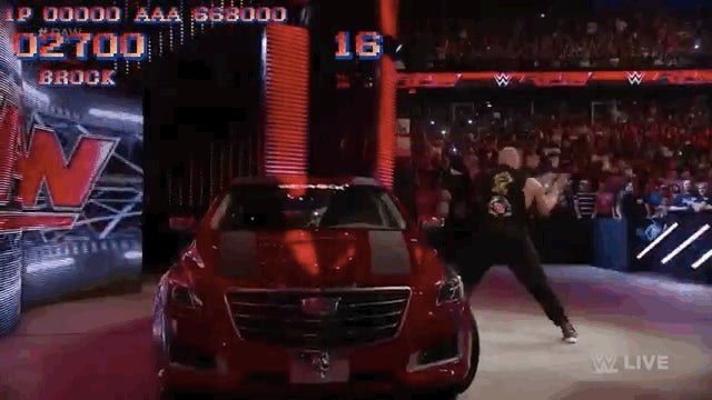 Brock Lesnar Destroys A Car, Street Fighter Style