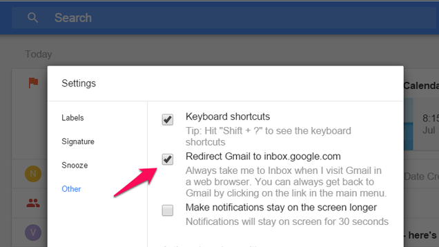 Change This Setting to Redirect Gmail to Google Inbox