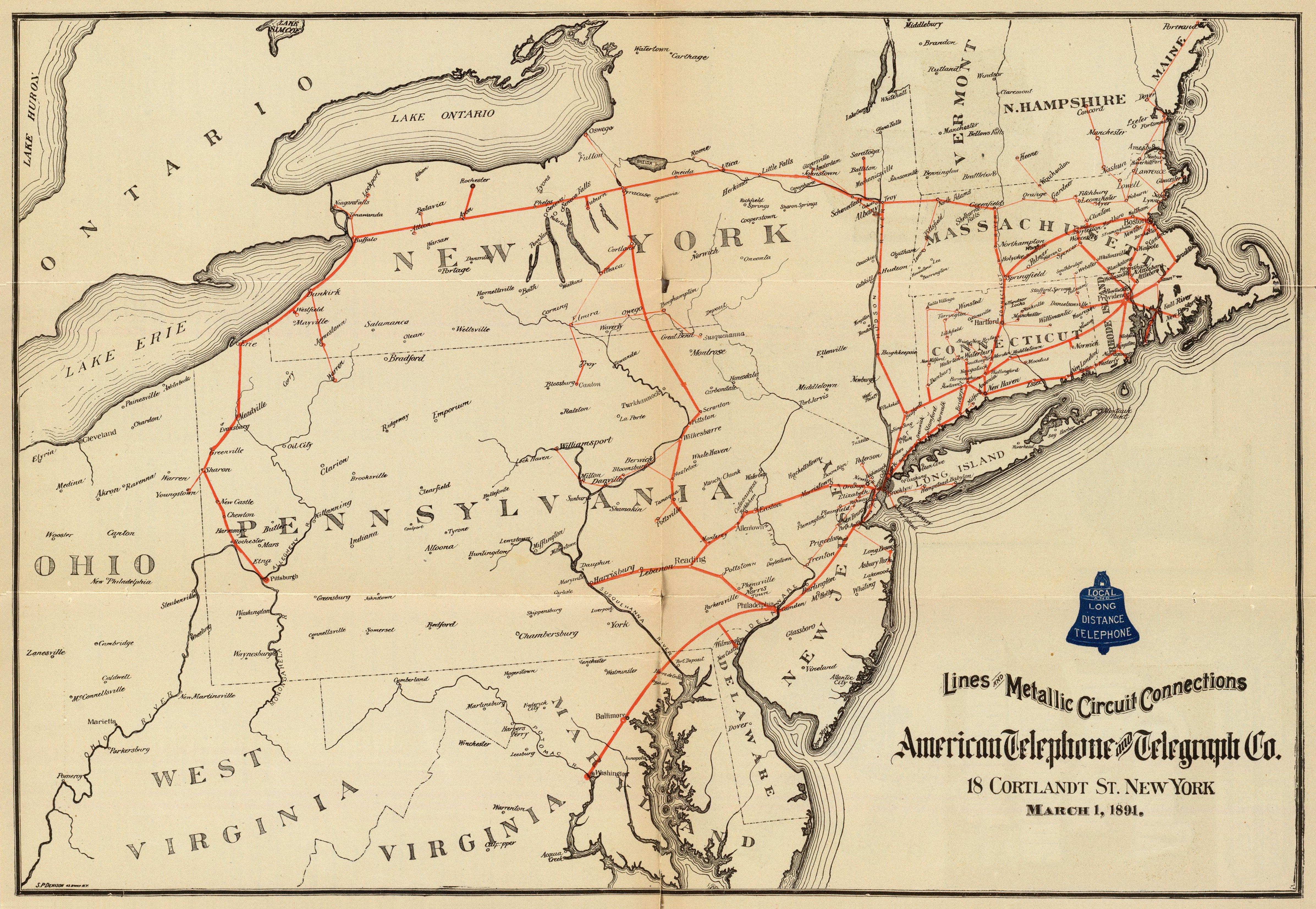 A Stunning Map of AT&T's Phone Network from 1891