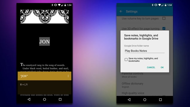 Google Play Books Can Now Sync Notes to Google Drive