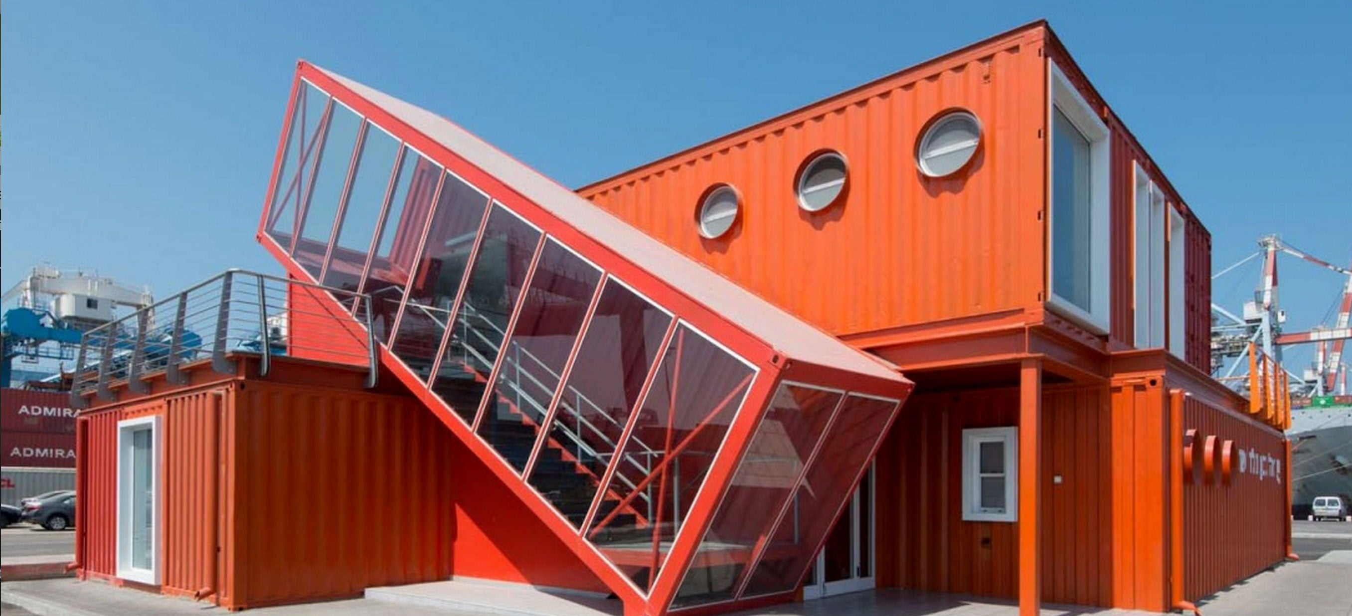 Wonderful Shipping Container Offices Are Right At Home On An Industrial Seafront