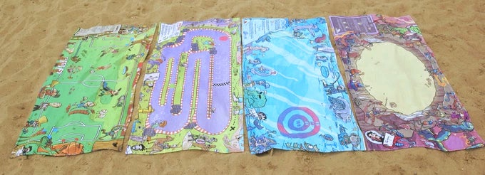 Beach Towel Board Games You Play With Discarded Bottle Caps
