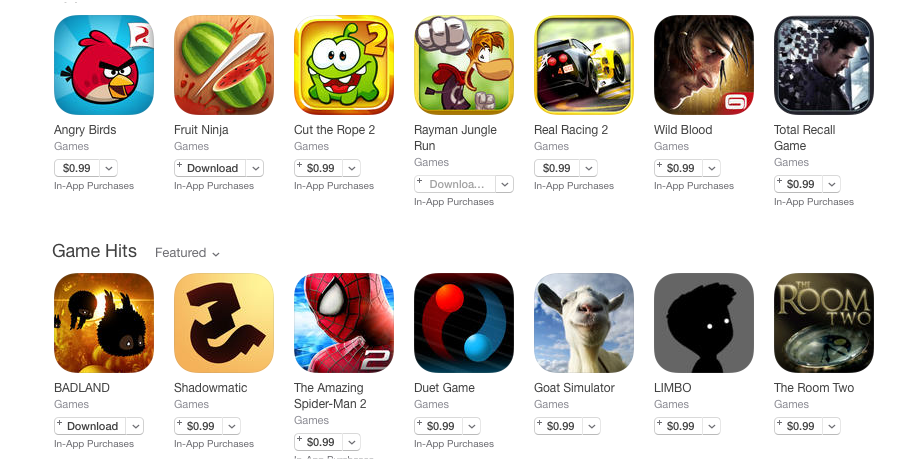 Apple's Cut the App Store Prices of 100 Popular Apps to $US0.99