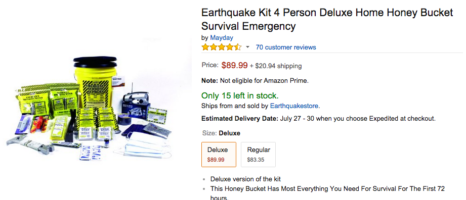 Earthquake Kits Selling Like Hotcakes After Terrifying New Yorker Story