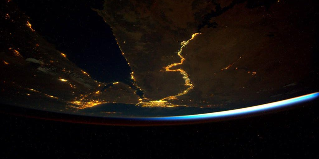 The Nile From Space Is a Long, Meandering Line of Light and Life