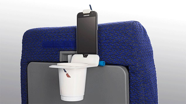 A Cup-Holding Device Mount Makes Flying Slightly More Bearable