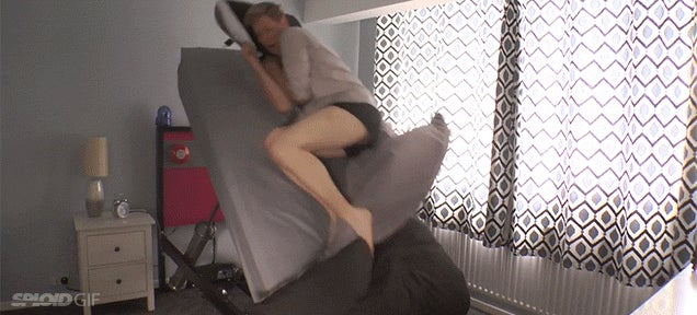 This ejector bed that launches you to wake up is a real funny nightmare
