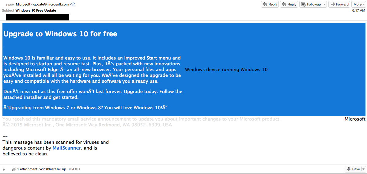 Don't Fall For This Windows 10 Email Scam