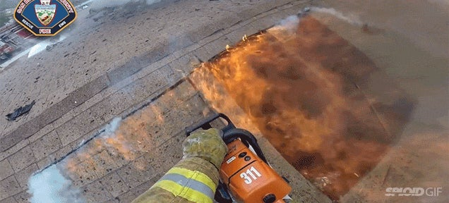 First person view of a firefighter fighting fire is so intense