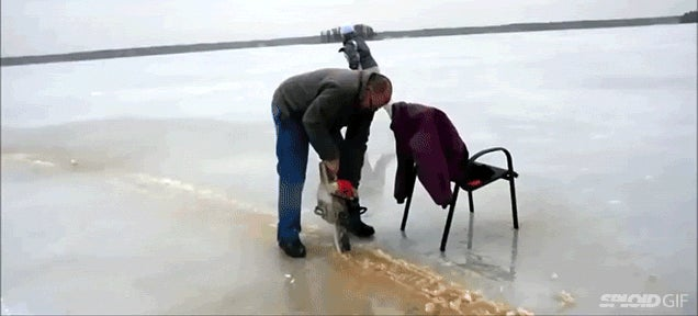 Crazy people chainsawed a frozen lake to make a spinning ice carousel