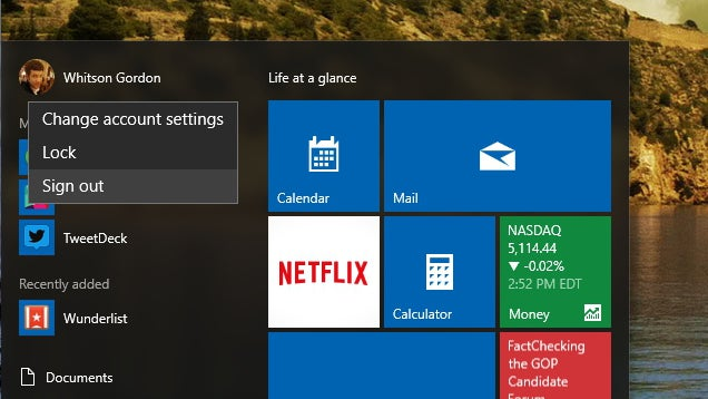 How to Log Out from the Windows 10 Start Menu