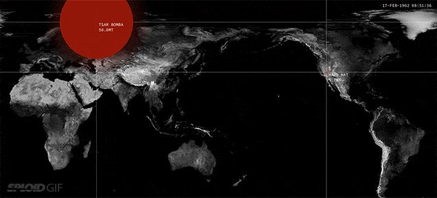 Stunning map visualisation shows every nuclear detonation since 1945
