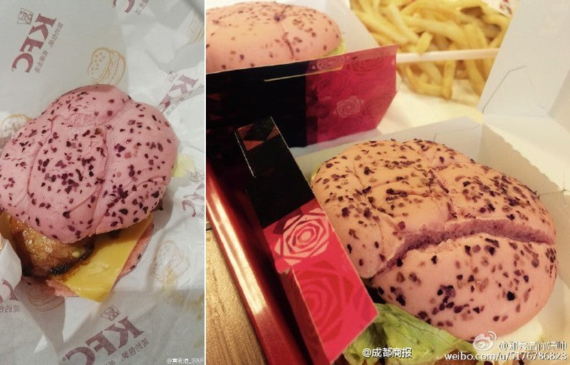 KFC's Pink Burgers Don't Look Tasty