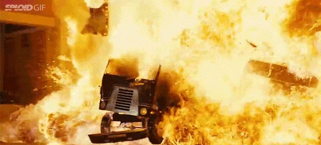 Just a bunch of bad arse explosions from Arnold Schwarzenegger movies