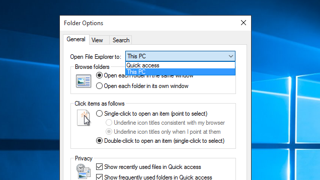 Open Windows Explorer At 'This PC' Instead Of Quick Access