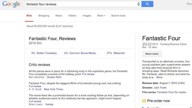 Add 'Reviews' To Movie Searches On Google To Get Snippets Of Critic Reviews