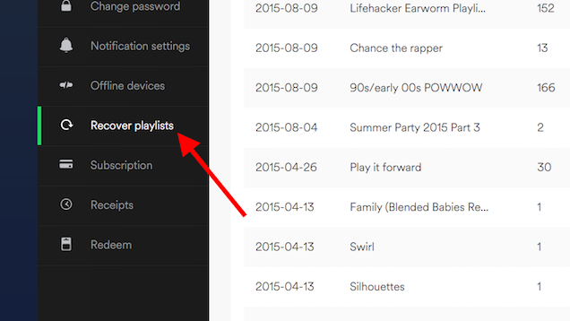Recover Lost Spotify Playlists From Your Account Page