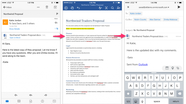 Outlook for iOS Now Opens and Edits Office Documents Easier
