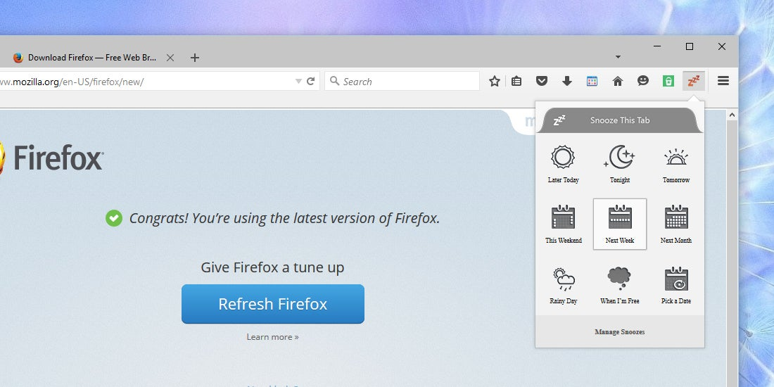 How to Snooze Tabs Until Later in Firefox