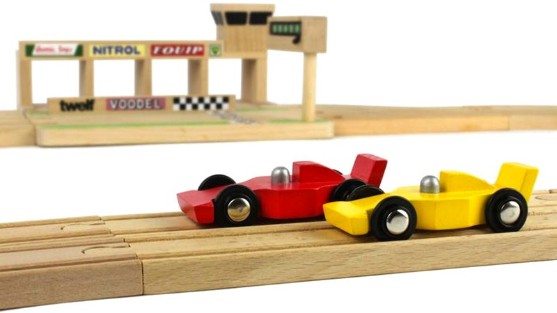 Upgrade Your Kid's Wooden Train Set To a Formula 1 Circuit