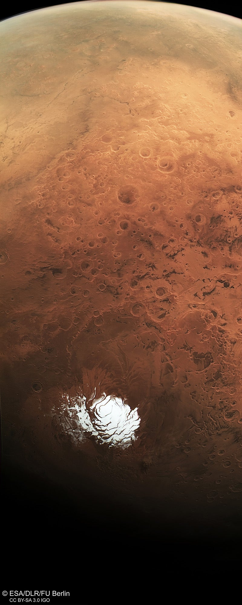 Here Is a Rare View of Mars' Icy Backside