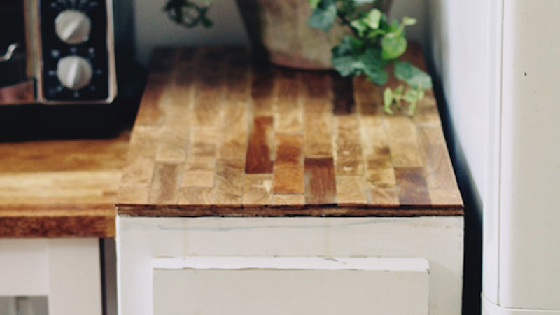 build a cheap 39 butcher block 39 countertop with plywood and paint stick