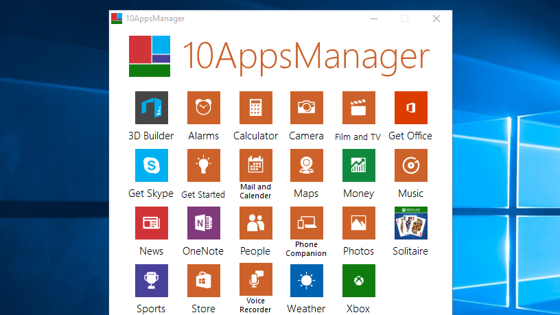 10AppsManager Uninstalls or Reinstalls Default Windows 10 Apps
