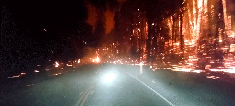 Driving through a fire looks like going through hell