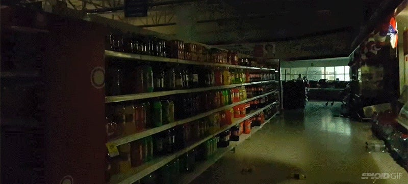 Being inside a grocery store during an earthquake is like being in a horror movie