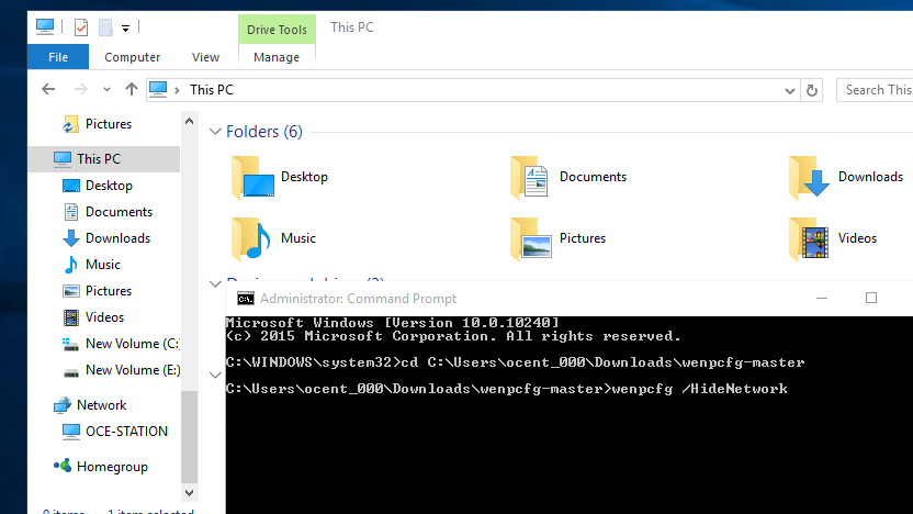 Wenpcfg Hides Default Links in Windows' File Explorer Sidebar