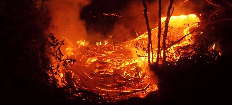 Watch flowing lava scorch the Earth