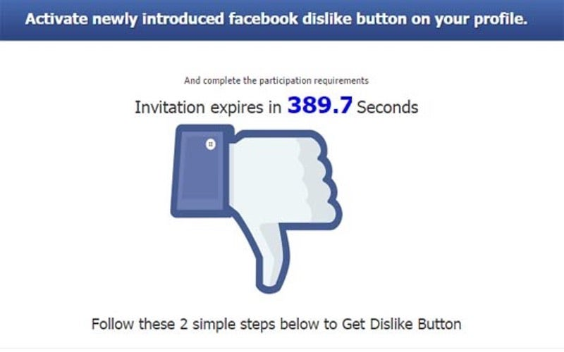 Don't Fall For The Facebook Dislike Button Scam