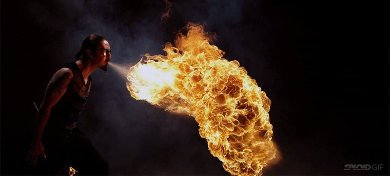 Fire breathing in bullet time looks so completely bad arse