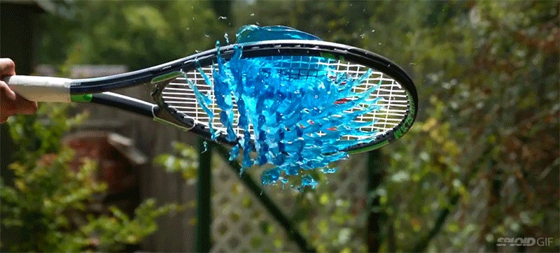Hitting Jell-O with a tennis racket gloriously slices it all up