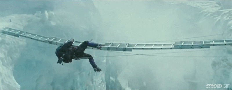 A tense action scene from the movie Everest with no SFX added is hilariously great