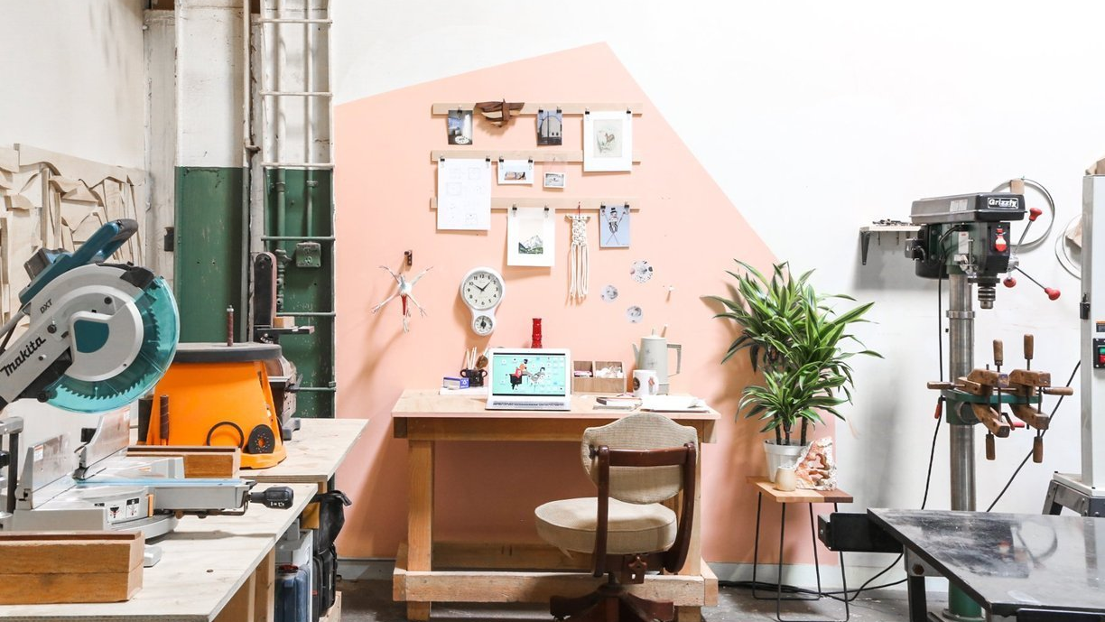 The Woodworker's Pink Workspace