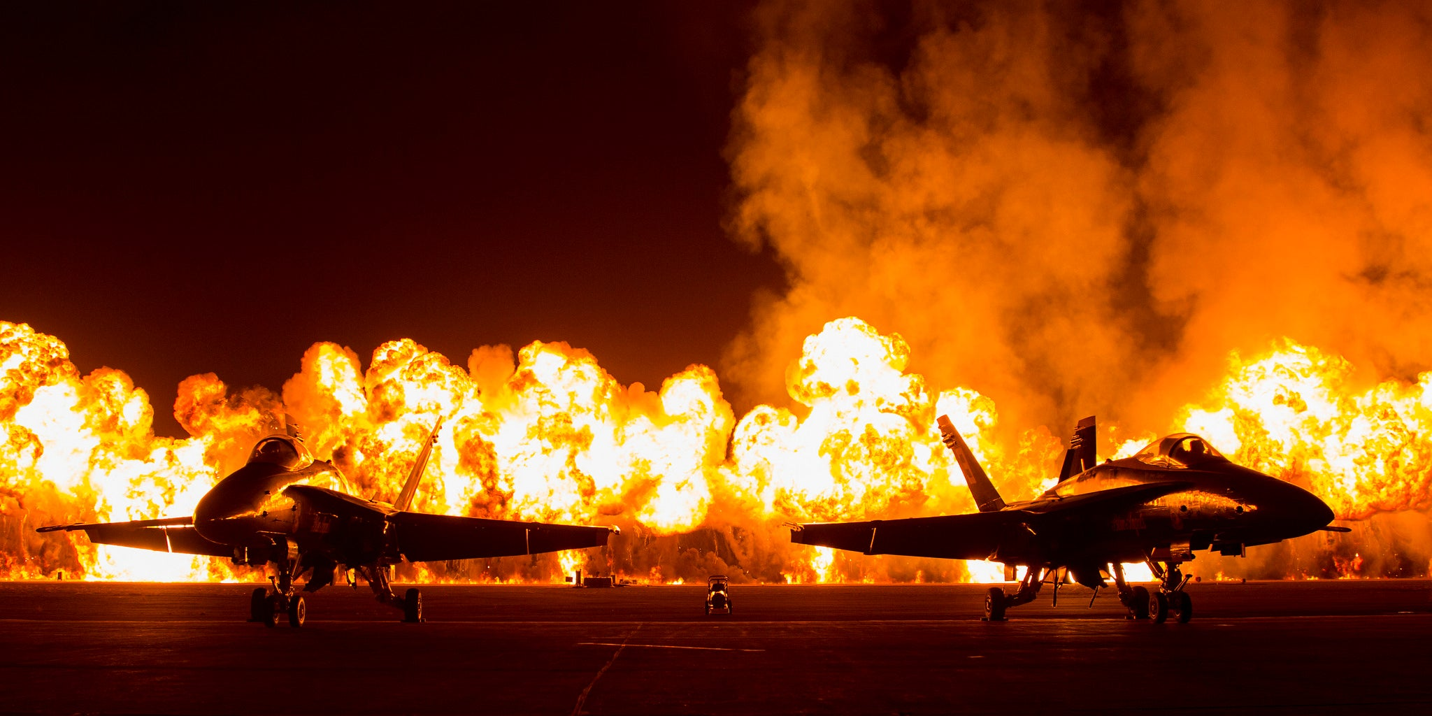 F-18s against a wall of fire totally look like they're escaping explosions
