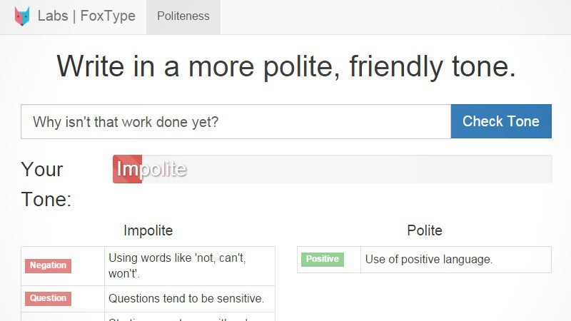 FoxType Politeness Checker Helps You Write More Polite Messages