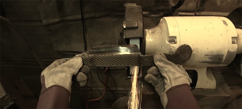 Watch this cool first person view of hand making a knife