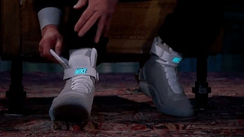 Michael J. Fox Tries On His Self-Lacing Nike Mags for Jimmy Kimmel