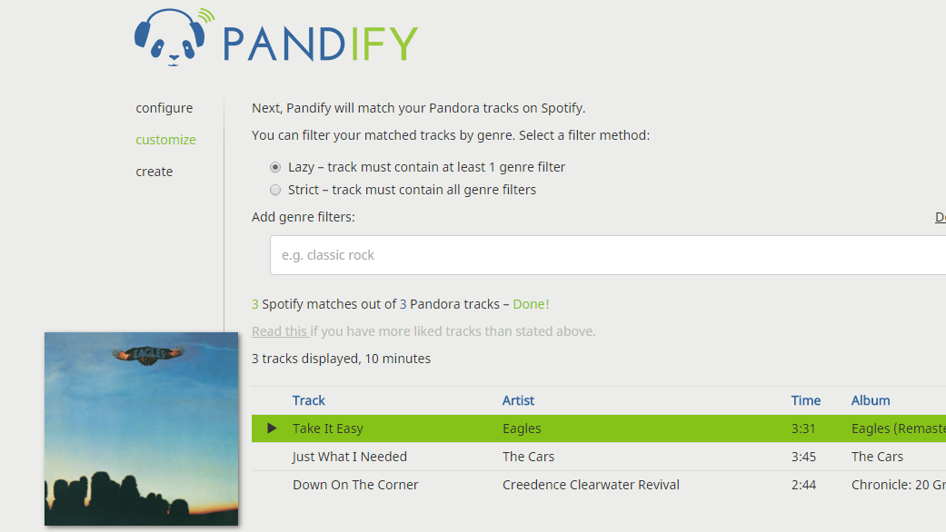 Pandify Creates Spotify Playlists From Your Pandora Likes