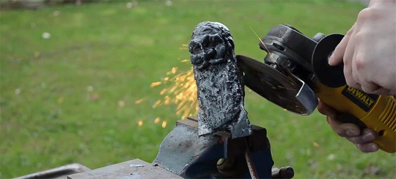 Watch a welder turn metal rods into a gunk of metal into an intricate door knocker