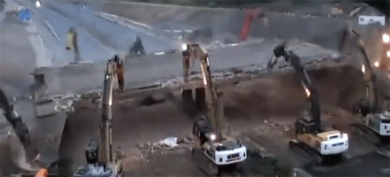 Watch a bridge get quickly and neatly demolished in this timelapse