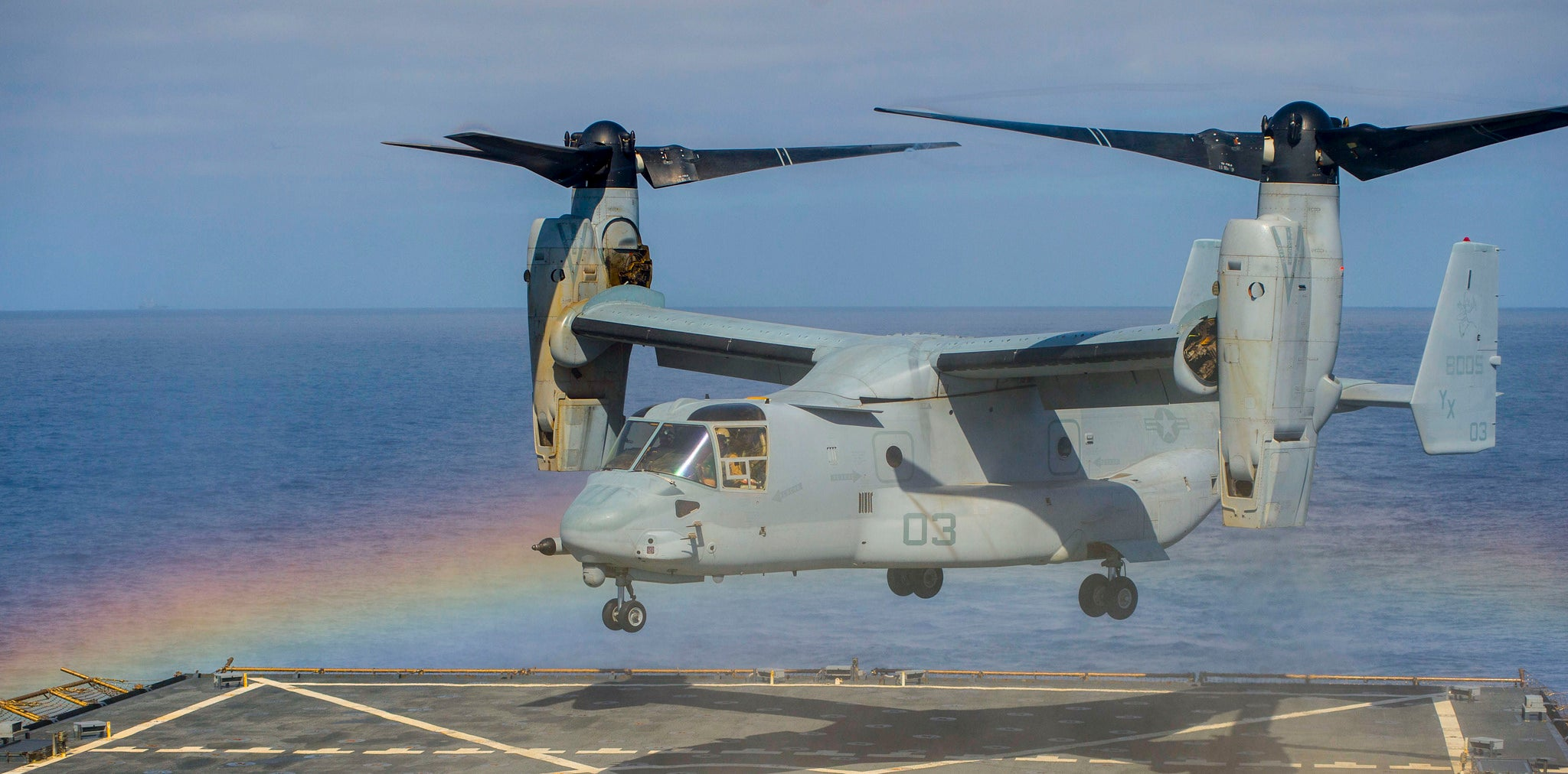 Awesome photo of a V-22 Osprey inside a rainbow
