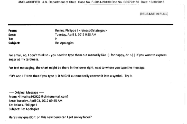 Hillary Clinton's Email About Emoji Is the Best Hillary Clinton Email