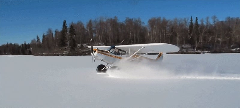 A plane landing in the snow and doing doughnuts is the funnest thing