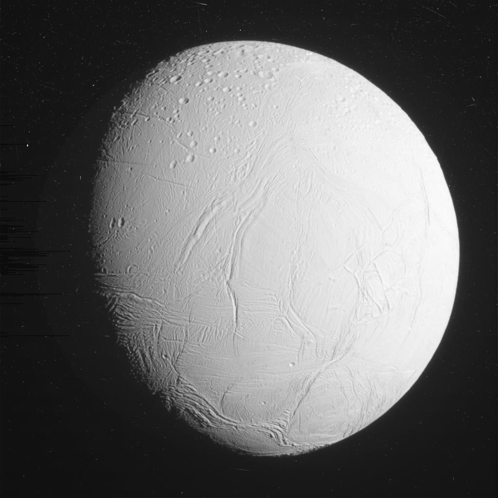 Here Are the First Stunning Photos From Cassini's Historic Enceladus Flyby
